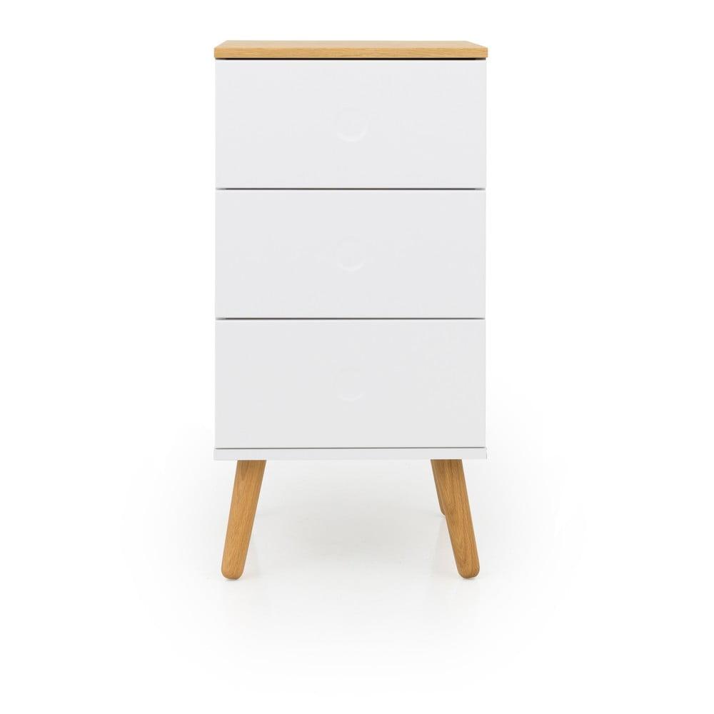 Bílá skříňka s nohami z dubového dřeva se 3 zásuvkami Tenzo Dot, šířka 40 cm