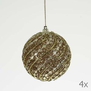 Set dekorativních koulí Ball Gold Glitter, 4 ks
