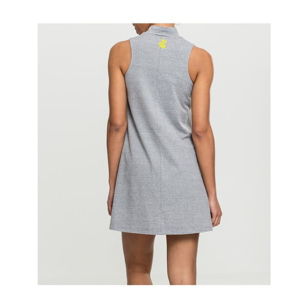 Dámské šedé šaty s motivem Dobrá energie od Dana Bárty & Vladimíra 518 pro KlokArt, vel.M