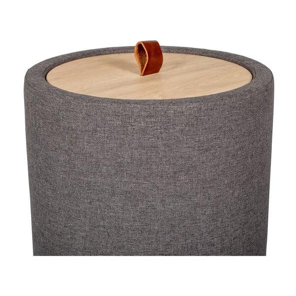 Odkládací stolek v tmavě šedé barvě se snímatelnou deskou z dubového dřeva Askala Ibisco, ⌀36cm