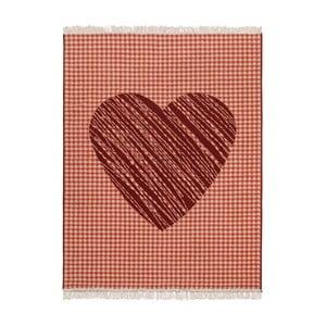 Covor Fringe - inimă roșie, 140x200 cm