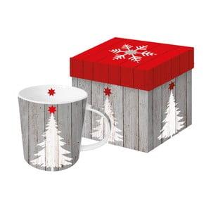 Hrnek z kostního porcelánu s vánočním motivem v dárkovém balení PPD Tree On Wood, 350 ml