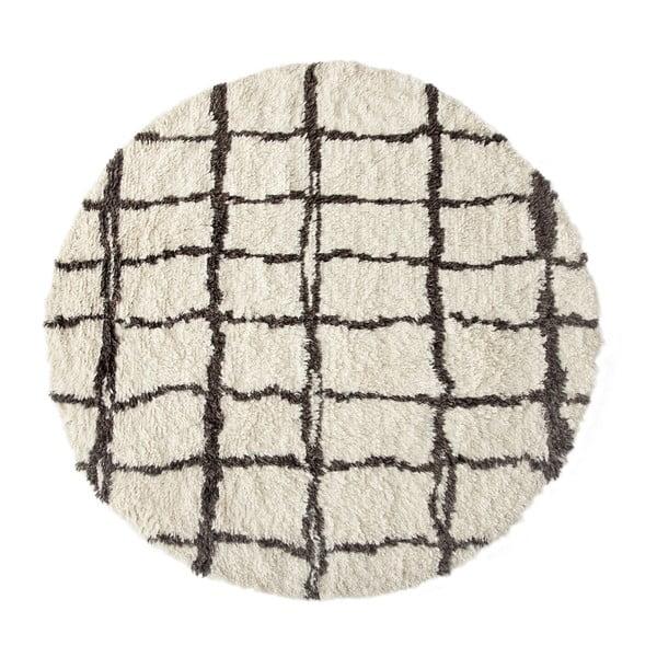Černo-bílý koberec Linen Couture Elías, ⌀ 140 cm