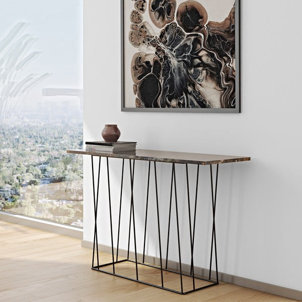 Hnědý mramorový konzolový stolek s černými nohami TemaHome Helix