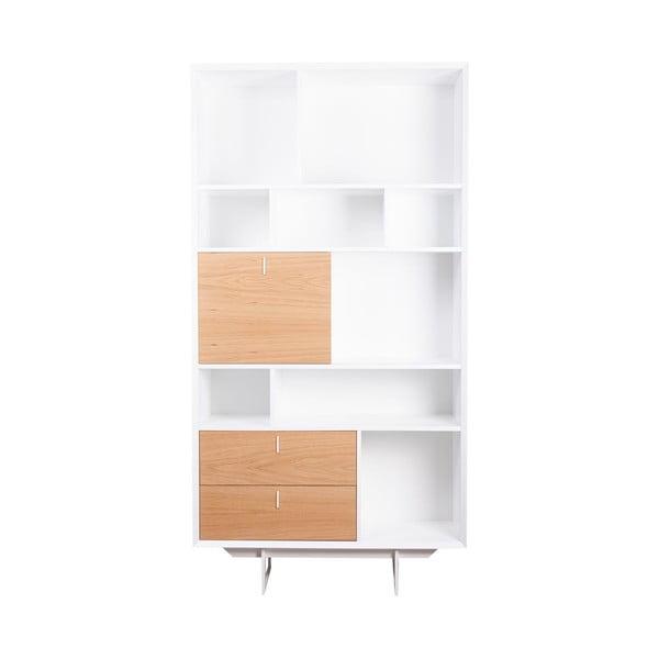 Hnědo-bílá knihovna sømcasa Porto, výška 193 cm