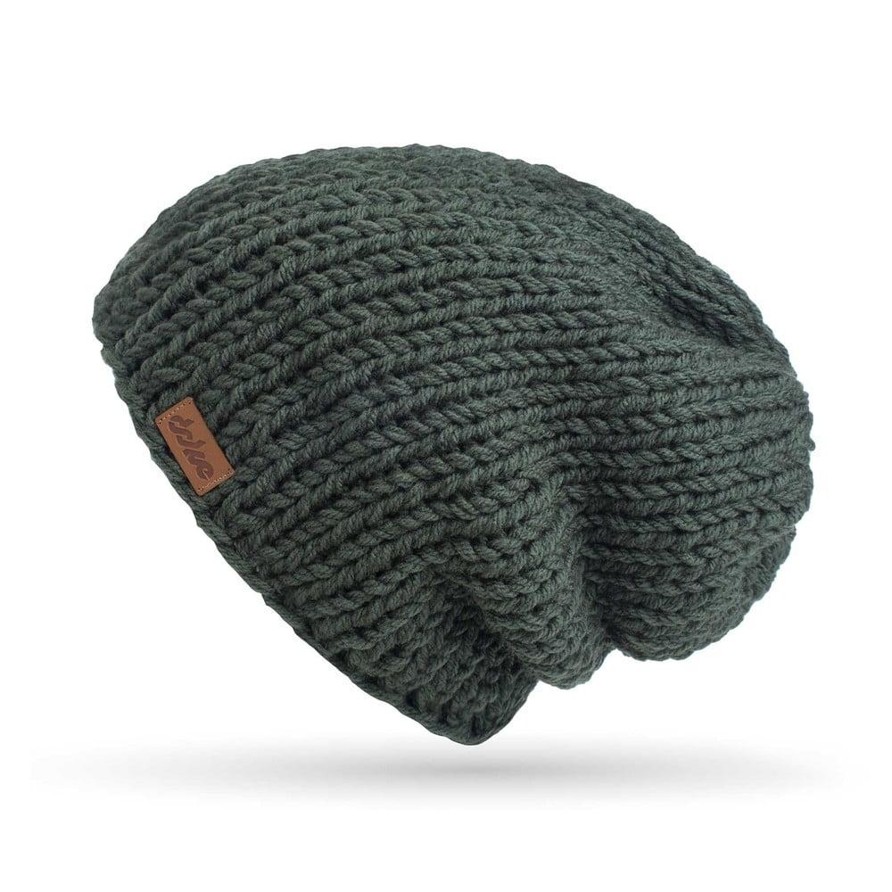 51f7642b6 Olivově zelená ručně pletená čepice DOKE Mina