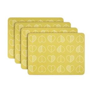 Sada 4 kusů žlutého korkového prostírání Navigate Outline