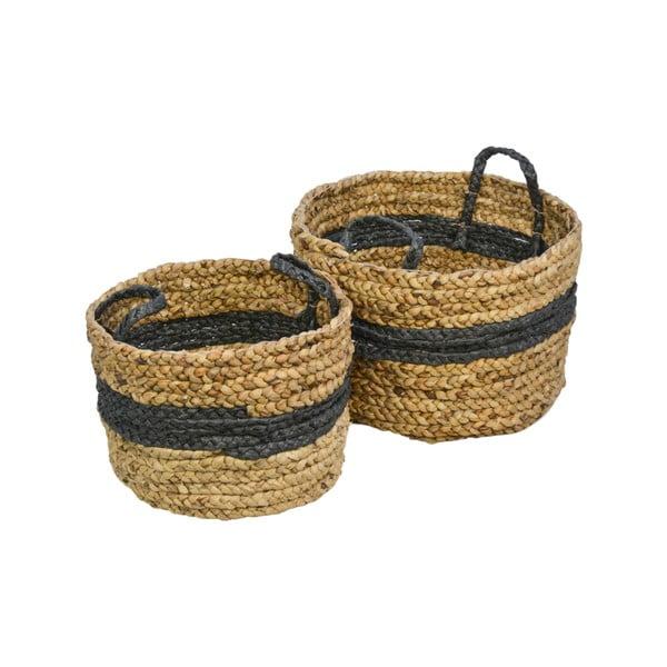 Sada 2 úložných košíkov z vodného hyacintu HSM collection Natural Black
