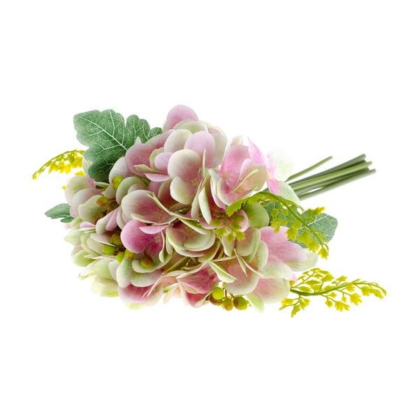 Rózsaszín hortenzia és páfrány művirág - Dakls