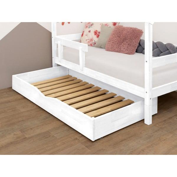 Biała drewniana szuflada pod łóżko Benlemi Buddy, 70x140 cm