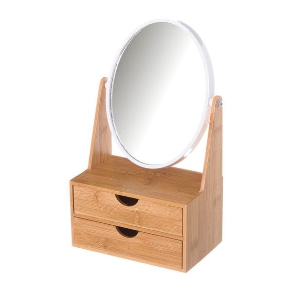 Podwójne lusterko z szufladkami z bambusu Unimasa