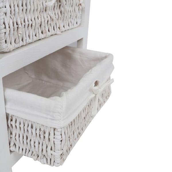 Bílá komoda ze dřeva paulownia se 3 proutěnými košíky Premier Housewares Maize