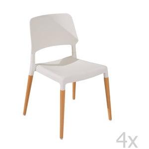 Sada 4 jídelních židlí Molde White
