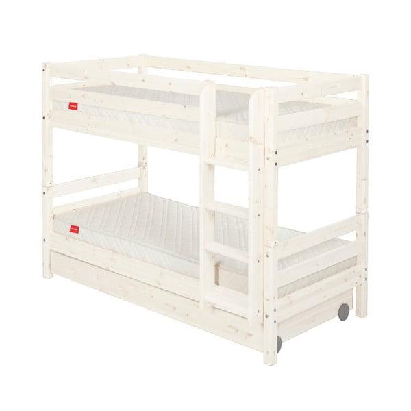Białe dziecięce łóżko piętrowe z drewna sosnowego z szufladą Flexa Classic, 90x200 cm