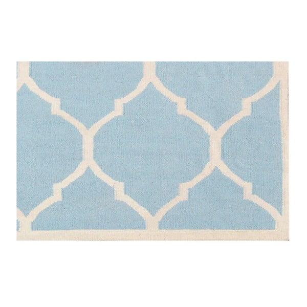 Vlněný koberec Lara, 60x90 cm, světle modrý