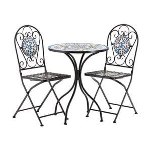 Set 2 modro-hnědých zahradních židlí a stolku Premier Housewares Amalfi