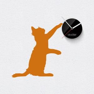 Hodiny se samolepkou Cat, černý ciferník
