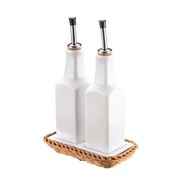 Set recipiente din porțelan pentru ulei și oțet Saleen Korbeige