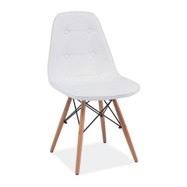 Bílá jídelní židle ze dřeva a ekokůže Signal Axel