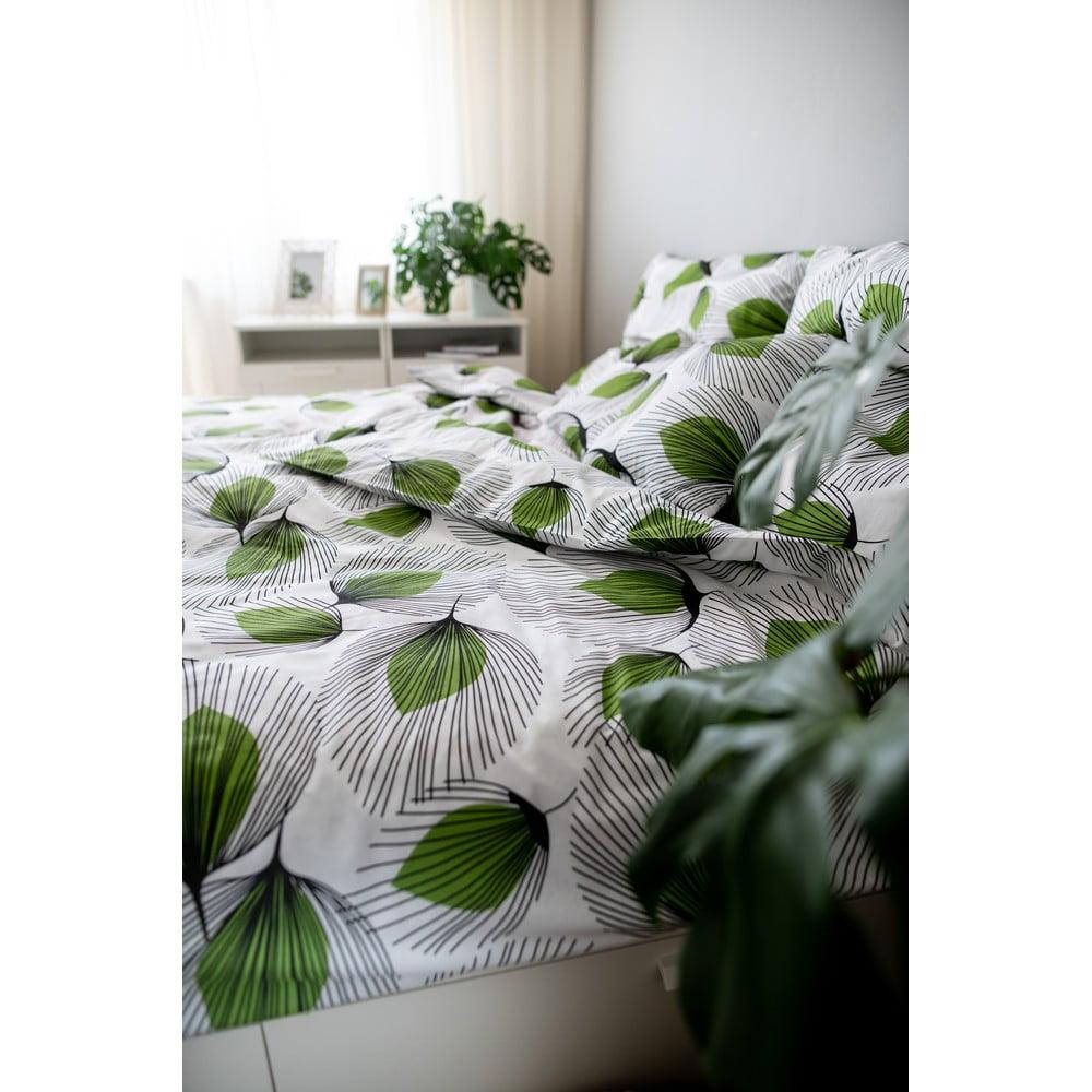 Zeleno-bílé bavlněné povlečení Cotton House Green Leaf, 140 x 200 cm