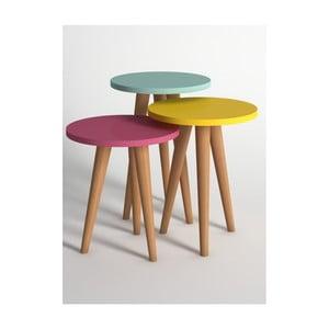 Sada 3 konferenčních stolků v růžové, žluté a modré barvě Monte Roma Nest