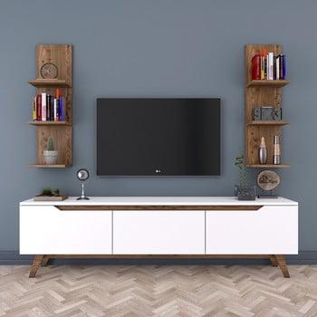 Set comodă TV cu 3 uși rabatabile și 2 etajere de perete Rani White, alb-natural
