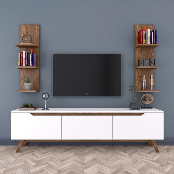 Zestaw białej szafki pod TV i 2 półek w dekorze drewna orzechowego Rani