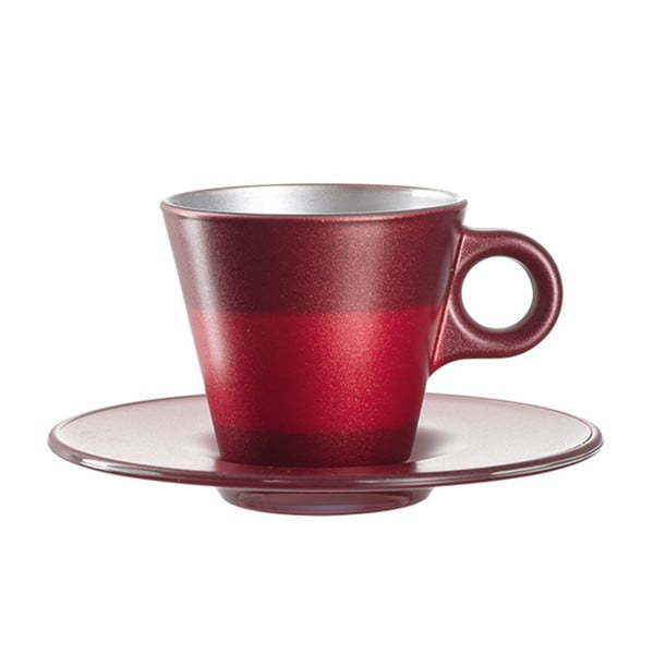 Červený metalický hrnek na espresso měnící barvu LEONARDO Ooh! Magico