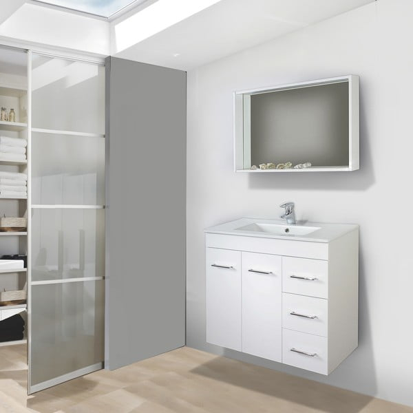 Koupelnová skříňka s umyvadlem a zrcadlem Byron, 70 cm