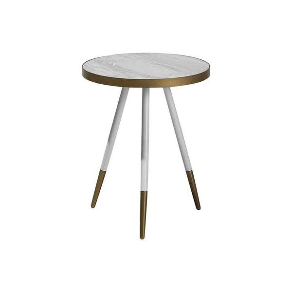 Bílý odkládací stolek s nohami ve zlaté barvě Monobeli Hannah, ø44cm