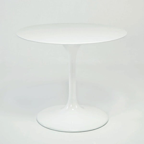 Bílý skleněný jídelní stůl Thai Natura, ⌀ 120 cm