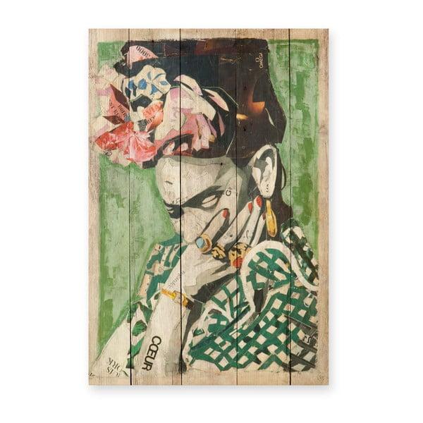 Nástěnná cedule z borovicového dřeva Madre Selva Frida Coeur, 40 x 60 cm