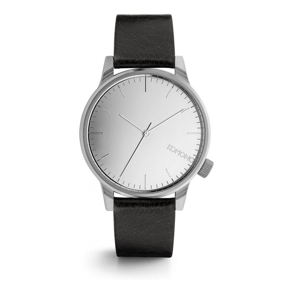 70f0558e59e Unisex tmavě modré hodinky s koženým řemínkem a ciferníkem ve stříbrné barvě  Komono Mirror