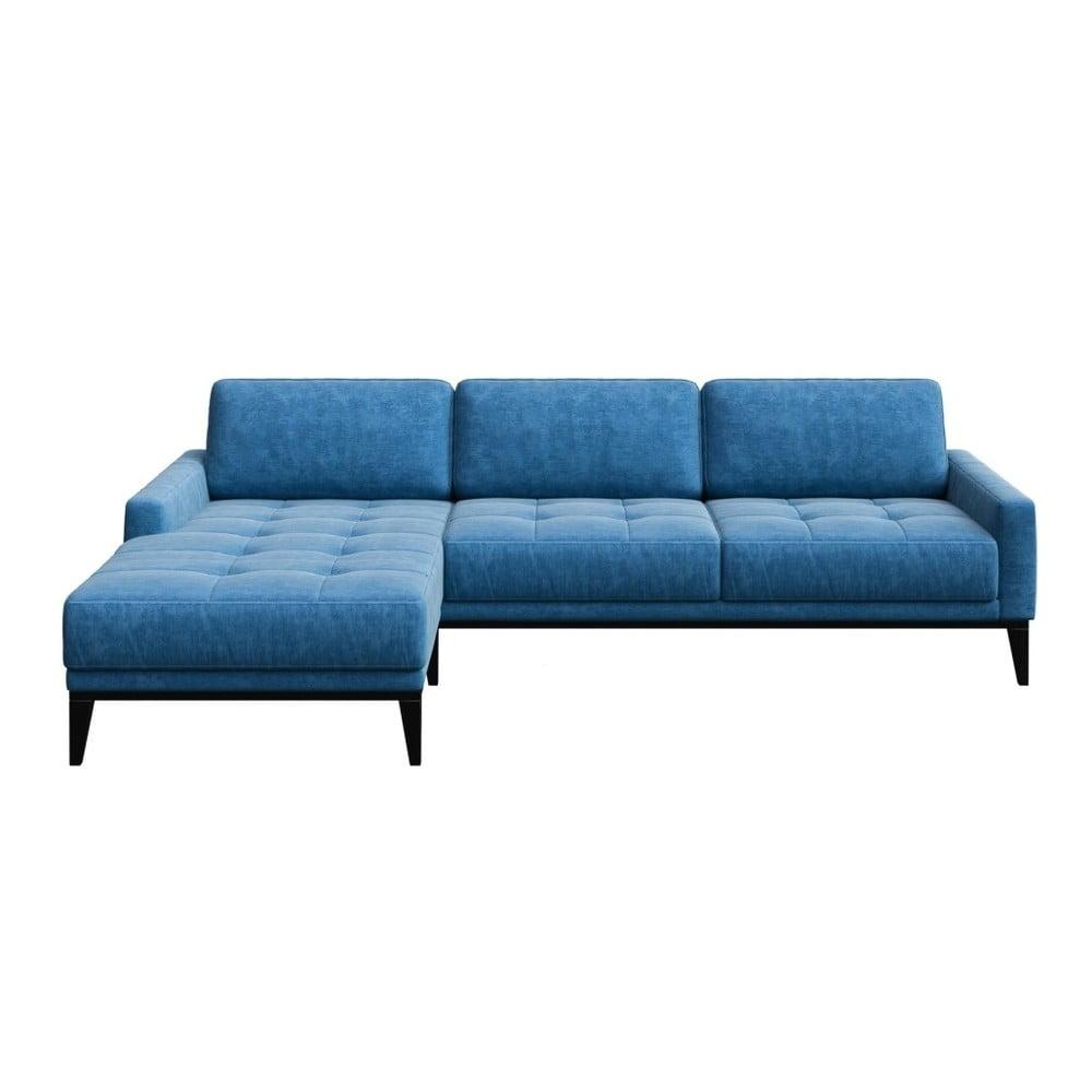 Modrá rohová pohovka s dřevěnými nohami MESONICA Musso Tufted, pravý roh