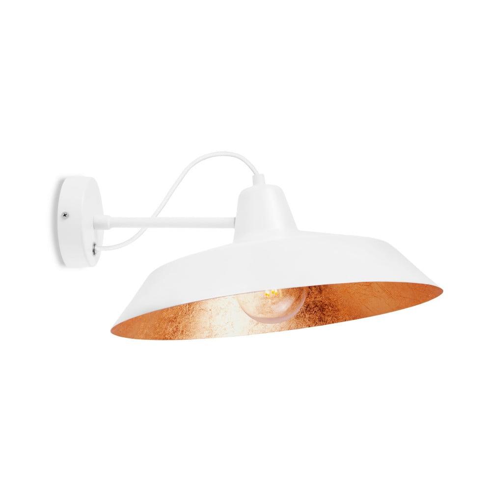 Bílé nástěnné svítidlo s detailem v měděné barvě Bulb Attack Cinco Basic, ⌀ 40 cm