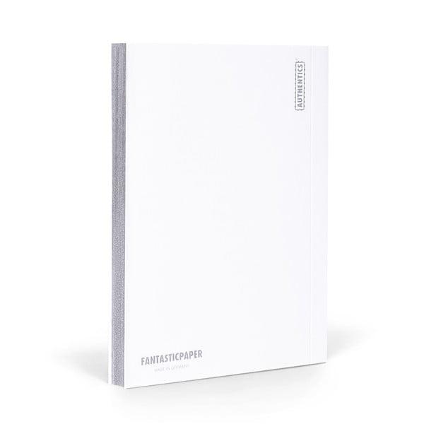 Zápisník FANTASTICPAPER A5 Snow/Silver, čtverečkový