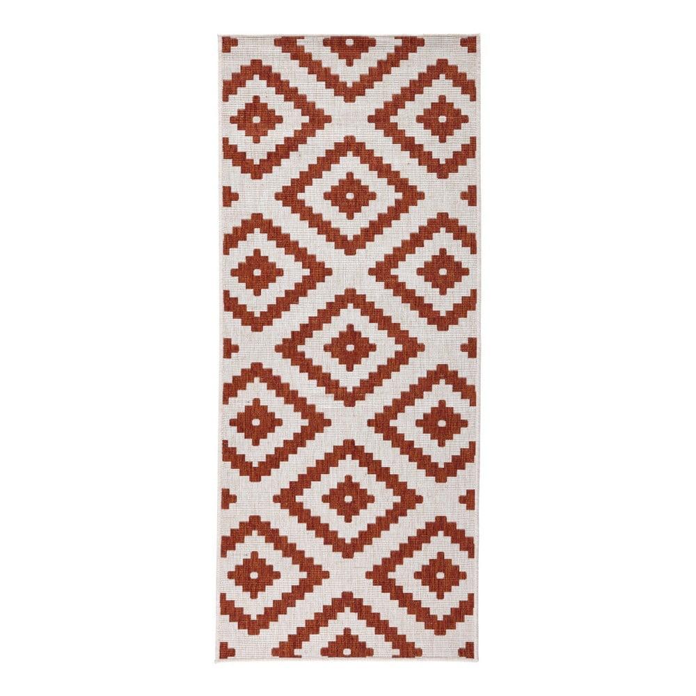 Červeno-krémový vzorovaný oboustranný koberec vhodný i na ven bougari Malta, 80x150 cm