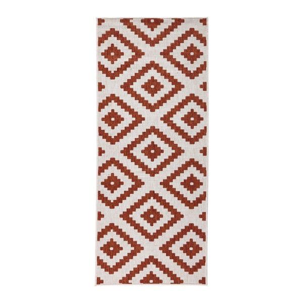 Červeno-krémový vzorovaný obojstranný koberec Bougari Malta, 80×150 cm