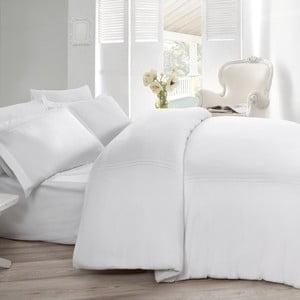 Lenjerie de pat cu cearșaf din satin Gulbin, 200 x 220 cm, alb