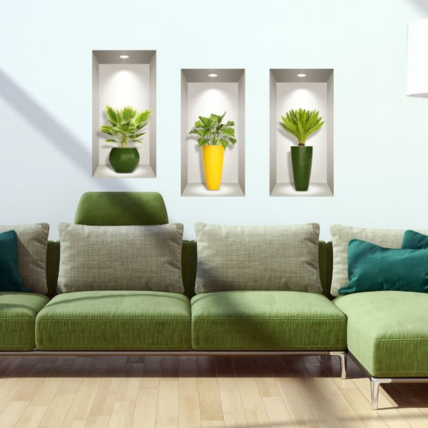 Set 3 autocolante 3D pentru perete Ambiance Palm Leaves