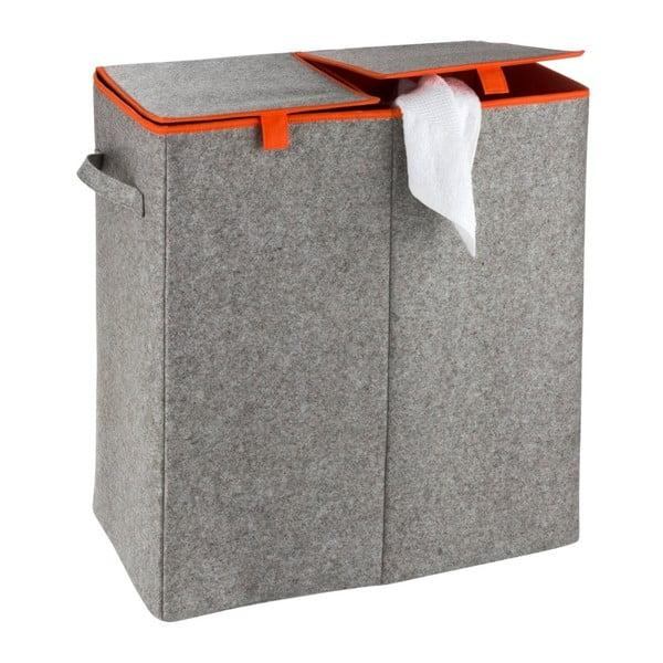 Duo kétrekeszes szürke-narancssárga szennyestartó kosár, 82 l - Wenko