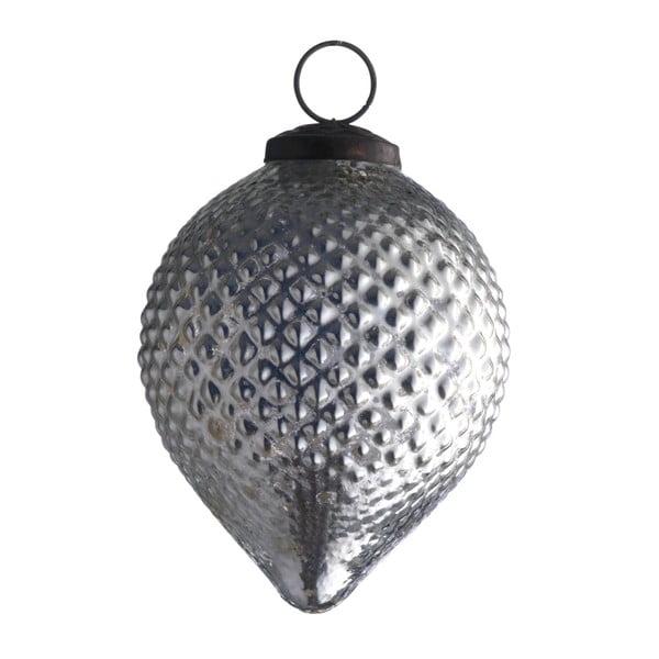Set šesti skleněných ozdob Diamond drop, antique, stříbrná