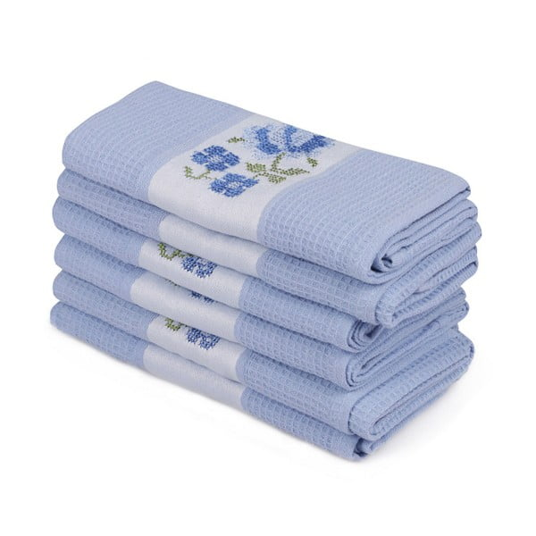 Sada 6 modrých ručníků z čisté bavlny Simplicity, 45 x 70 cm