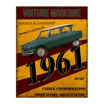 Placă metalică Antic Line Voiture 1961, 22 x 28 cm de la Antic Line