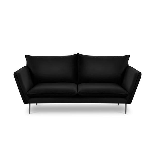 Čierna zamatová pohovka Mazzini Sofas Acacia, dĺžka 205 cm