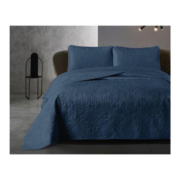 Modrá prikrývka z mikroperkálu s dvoma obliečkami na vankúš Dreamhouse Velvet Clara,250x260cm