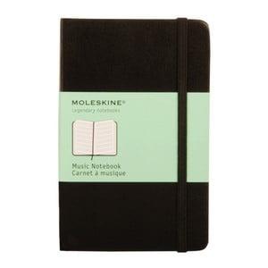 Černý zápisník Moleskine Music s notovou osnovou, malý