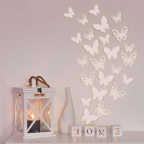 Sada 3D motýlků - bílá perleť,  24 ks