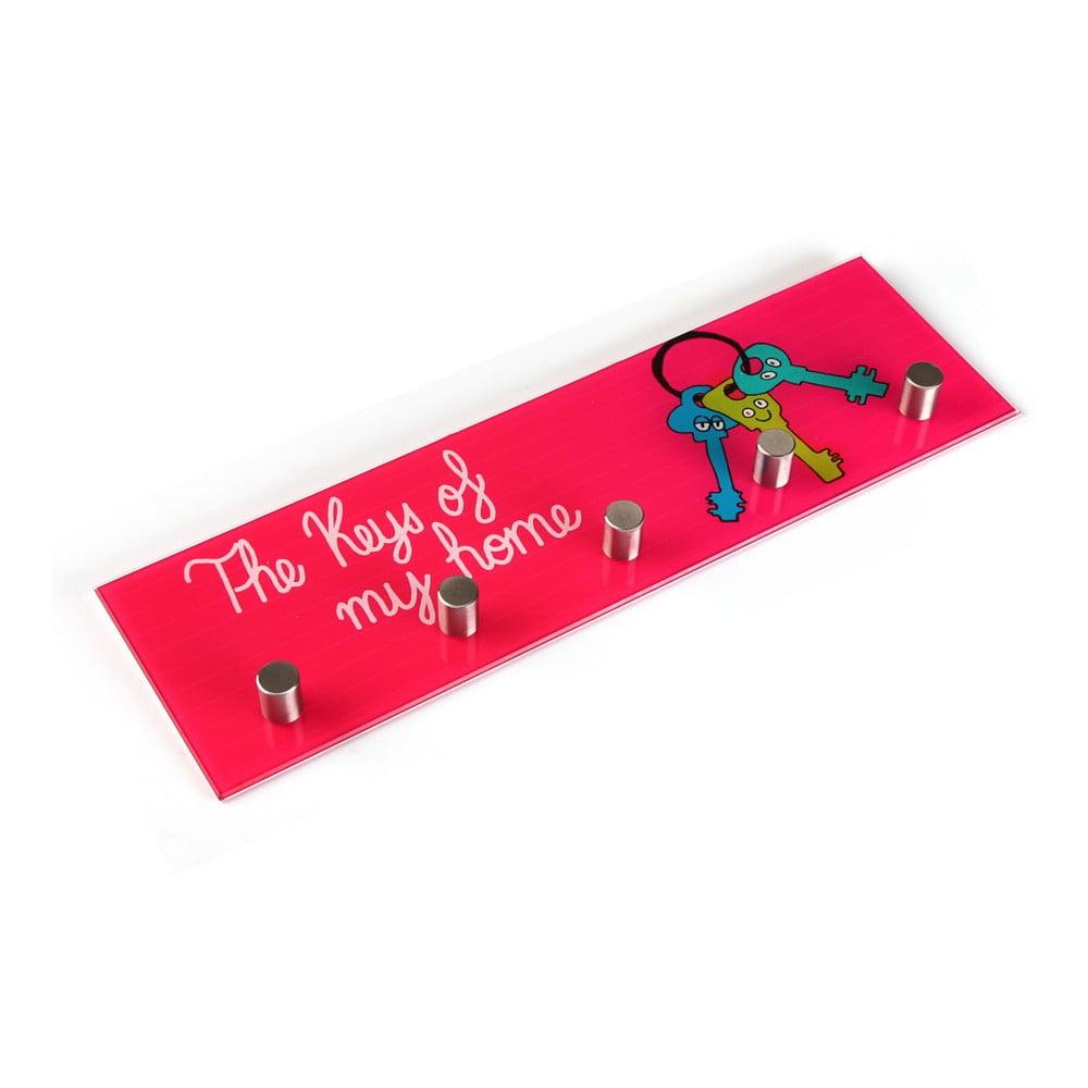 Růžový nástěnný věšák na klíče Versa