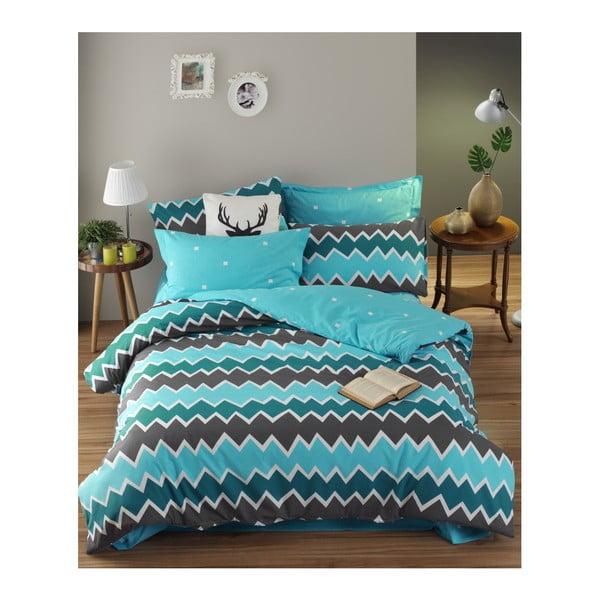 Lenjerie de pat cu cearșaf din bumbac ranforce, pentru pat dublu Mijolnir Zigros Anthracite, 200 x 220 cm